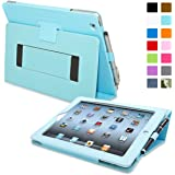 iPad 2 Case, Snugg™ - Smart Cover with Flip Stand & Lifetime Guarantee (Baby Blue Leather) for Apple iPad 2