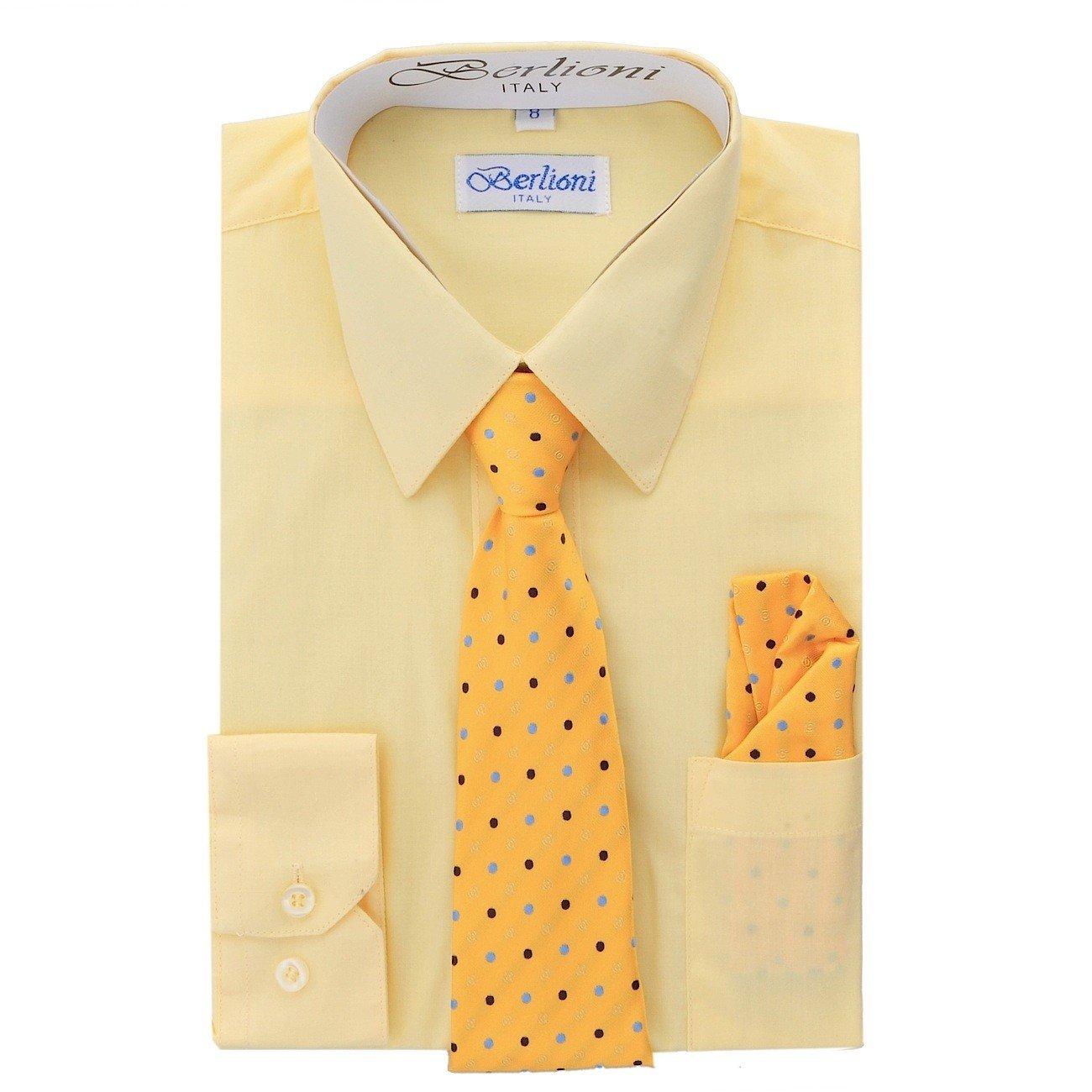Elegant Boys Button Down Lemon (710) Dress Shirt/Necktie/Hanky (14)