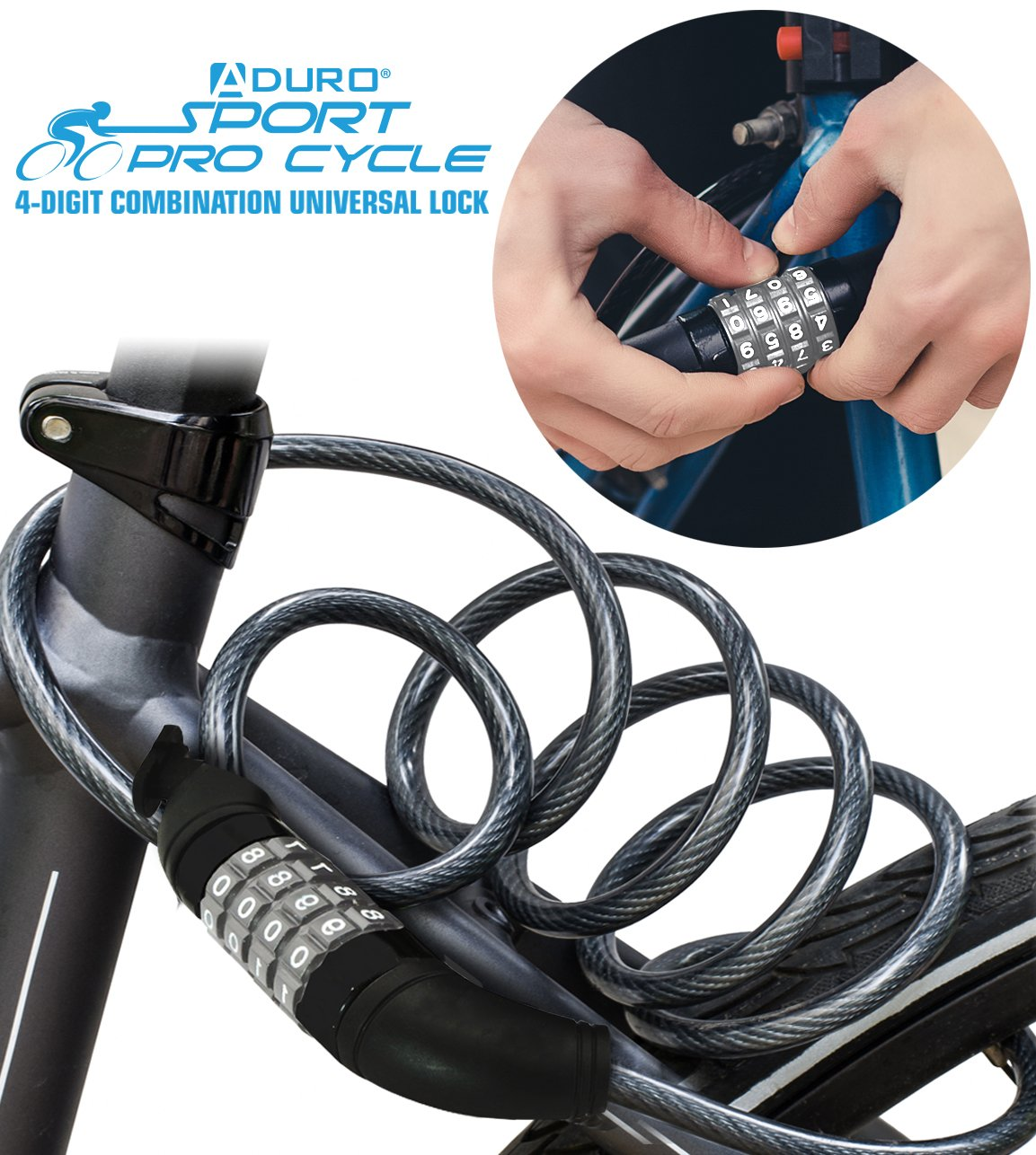 Aduro Sport Bike Lock Cable, 4-Feet Bicycle Master Cable Lock with 4-Digit Combination Lightweight Bike Chain Lock by Aduro (Image #2)