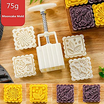 Kitchenware Hard-Working Mid-autumn Festival Moon Cake/ Pastry Mold Hand Pressure 50g 1 Mold 7 Stamp Kitchen & Home
