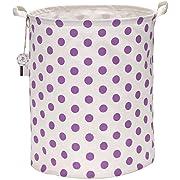 Sea Team 19.7  Large Sized Waterproof Coating Ramie Cotton Fabric Folding Laundry Hamper Bucket Cylindric Burlap Canvas Storage Basket with Stylish Purple & White Polka Dot Design
