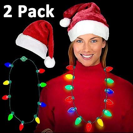 1ec8c710c87df Amazon.com  Christmas Santa Hats Red Double Plush Christmas Hat ...