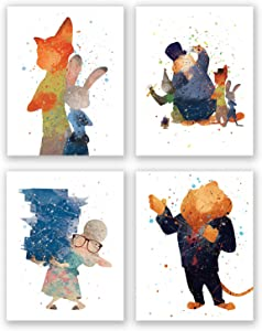PGbureau Zootopia Wall Art Decor Poster – Set of 4 Watercolor Prints – Party Supplies – Nick Judy Skoth Flash for Kids Birthday (8x10)
