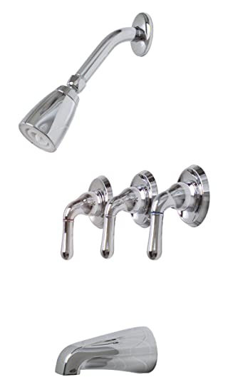 Premier 120636 Sanibel Three Handle Tub Shower Faucet Chrome