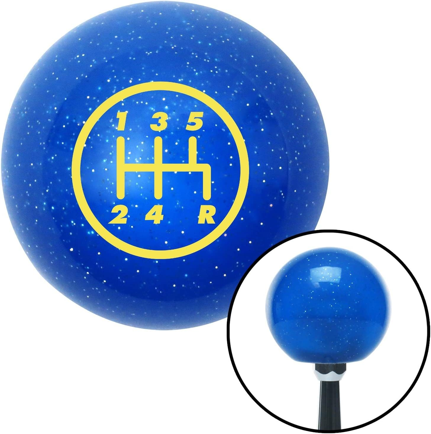 American Shifter 19667 Blue Metal Flake Shift Knob with 16mm x 1.5 Insert Yellow 5 Speed Shift Pattern - 5RDR