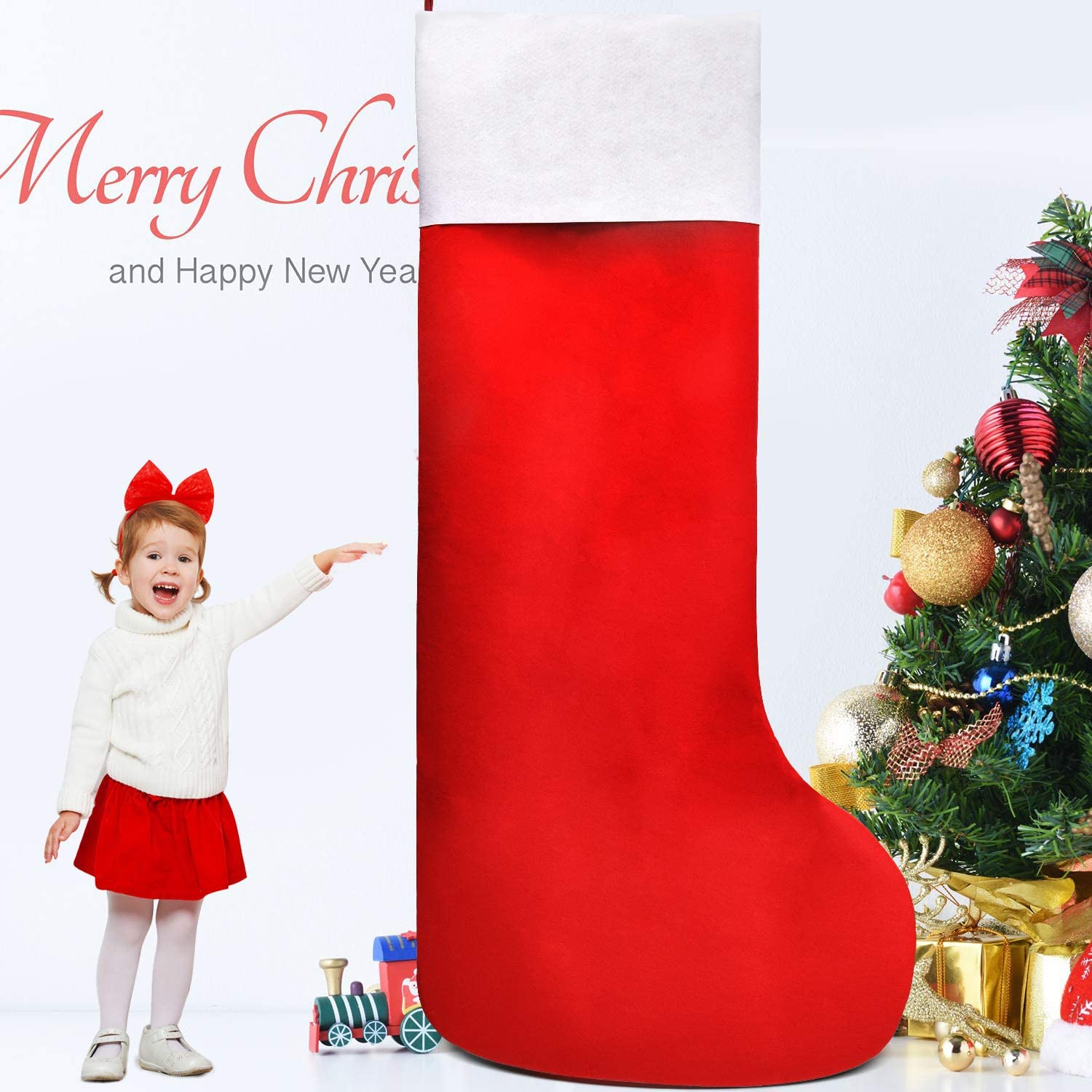 Syhood Giant Christmas Stocking Large Christmas Felt Stocking Red And White Oversized Stocking For Small Gifts Candy Holiday Christmas Storage Decoration 57 By 27 5 Inch Home Kitchen Amazon Com