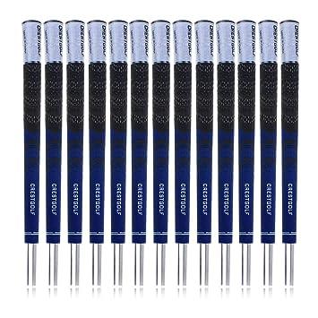 Crestgolf - Empuñaduras para palos de golf, juego 13 unidades de caucho combinado con carbono, en 3 colores, dark-blue