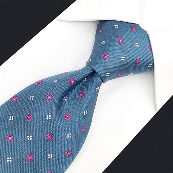 S/&W SHLAX/&WING Cravatta da uomo Blu Arancione Floral Set Classic