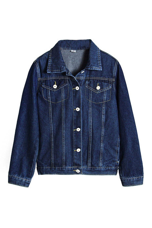 Women Single-Breasted Pockets Streetstyle Denim Jackets Outerwear Tops CAFEMLT019