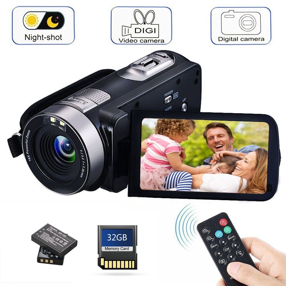 Camcorder Digital Camera with IR Night Vision HD Digital Video Camera 24.0Mega Pixels 18X Digital Zoom for Selfie Pause Function (Two Batteries Included) (Black) by BAIZE
