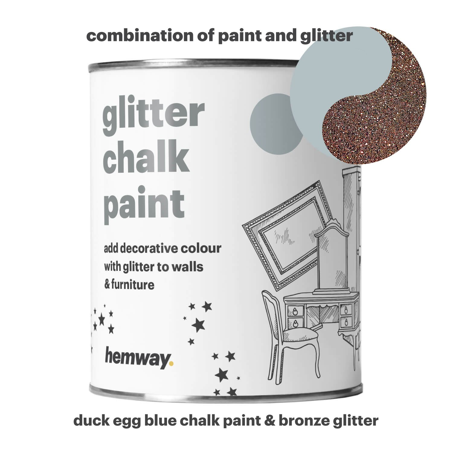 Hemway Duck Egg Blue Chalk Paint (with Bronze Glitter) Sparkle Matt finish Wall and Furniture Paint 1L/35oz Shabby Chic Vintage Chalky Crystal (25 Glittery Colours Available)