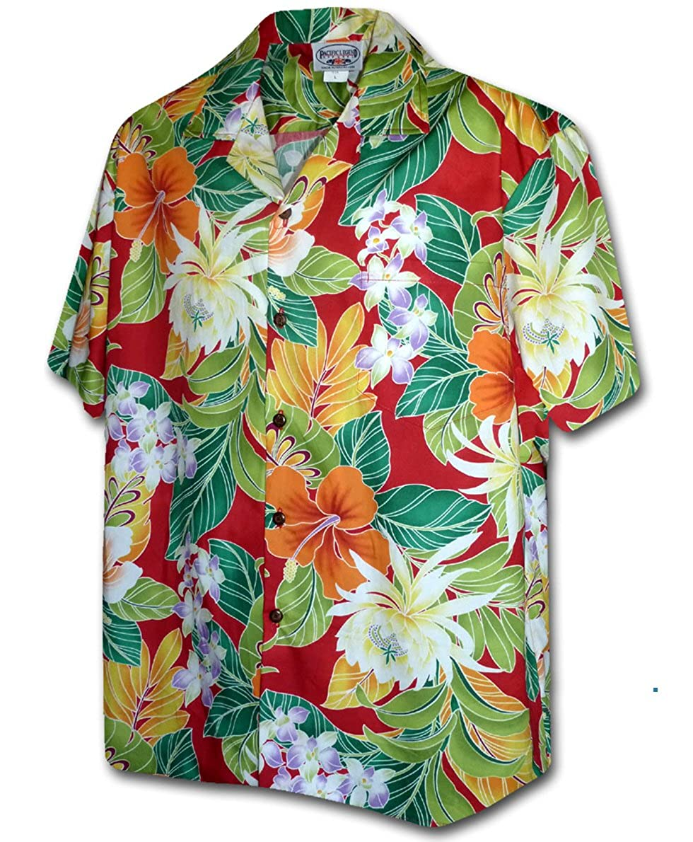 Pacific Legend Tropical Floral Cereus Plumeria Hibiscus Hawaiian Shirt