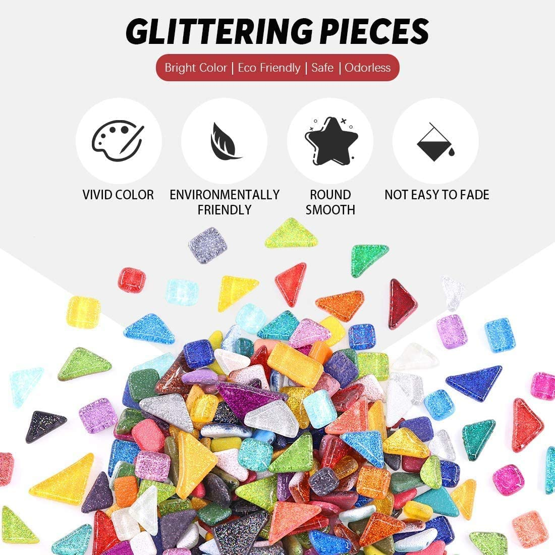 Handmade Jewelry Picture Frames 1 Lb Mixed Color Mosaic Tiles Shine Crystal Mosaic Tiles Assortment Kit Plates Flowerpots DIY Craft Glass Pieces for Home Decoration Crafts