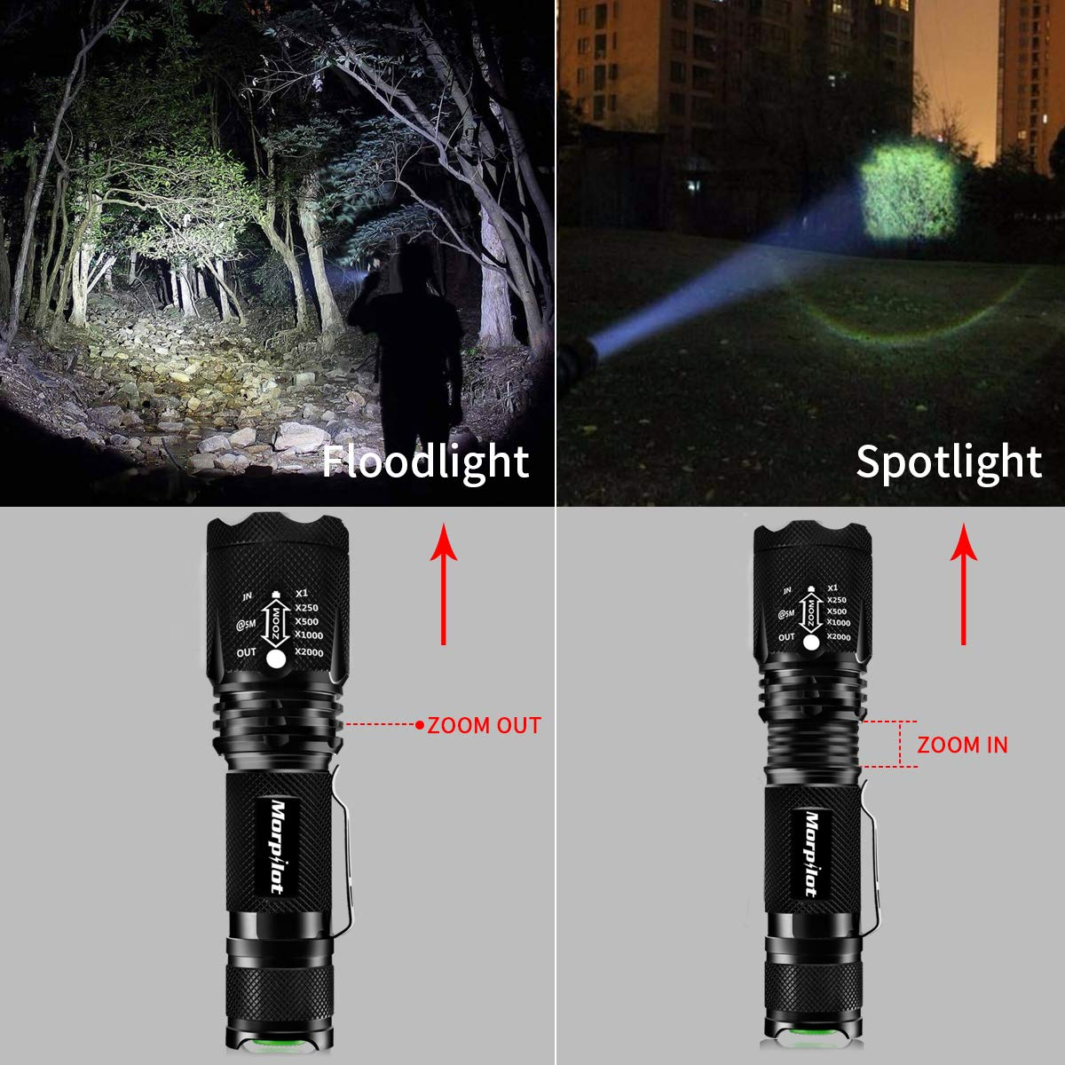 morpilot LED Torch, 2 in 1 UV Torch UV Flashlight with 395nm Black Light, Super Bright LED Flashlight with 500 Lumens 4 Modes Light, Adjustable Focus Tactical Flashlight, Aluminum Alloy Body, 2 Packs