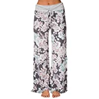 iChunhua Women's Comfy Stretch Floral Print Drawstring Palazzo Wide Leg Lounge Pants