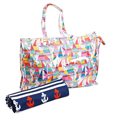 XXL Bolsa de playa plastificada + toalla con motivos marineros ideal para piscina, shopper, gym, juguetes y de gran capacidad, resistencia e ...
