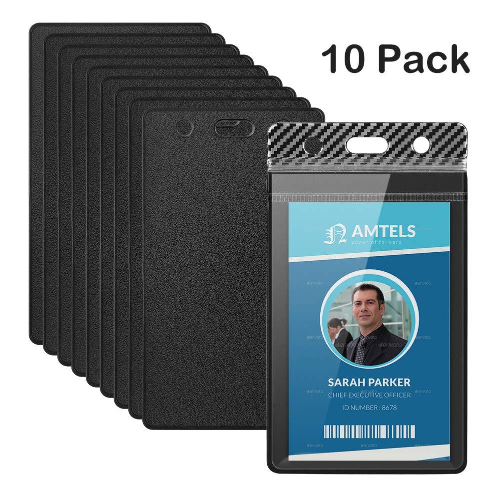 TankerStreet 10 piezas Badge Id Card Holder Impermeable Porta Tarjeta Identificativas Sellable Transparente Cordón para Tarjetas para Oficina, Escuela ...