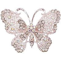 Bullidea Fashionable Brooch Vintage Diamond Butterfly Wedding Bridal Brooch Pin Rhinestone Covered Scarves Shawl Clip