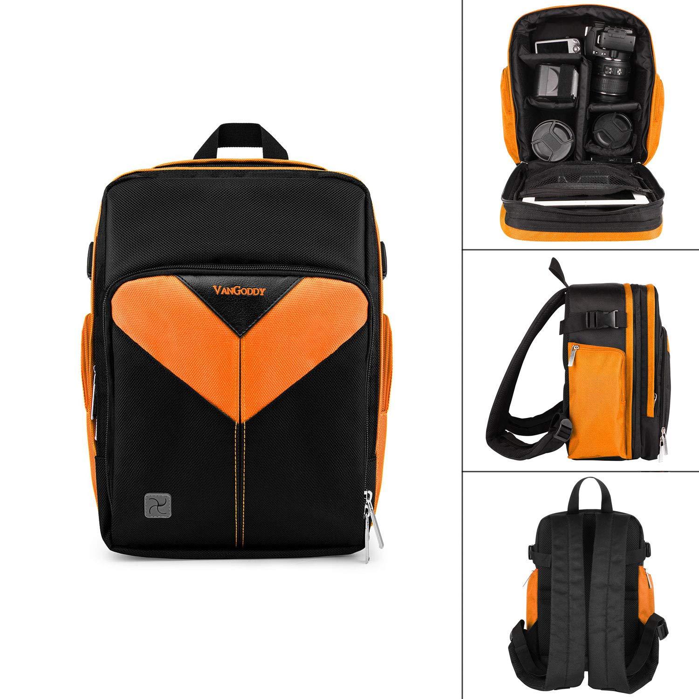 プロフェッショナル バックパック デジタル一眼レフカメラ アクセサリー アウトドア ハイキング トレッキング 12インチ ノートパソコンコンパートメント B07HN1MQY4 オレンジ
