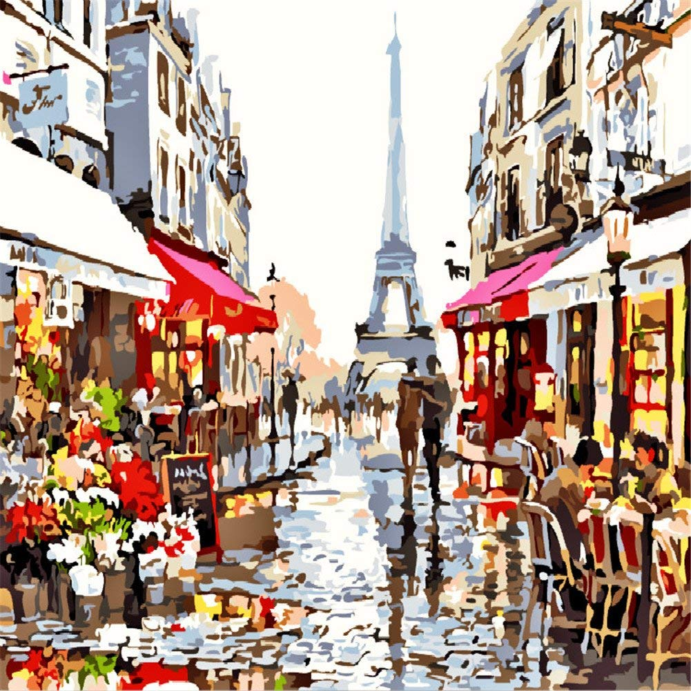 Komking DIY Oil Painting by Number Kits for Adults Great Gift Paint by Numbers on Canvas Painting Beautiful Paris Street 16x20inch