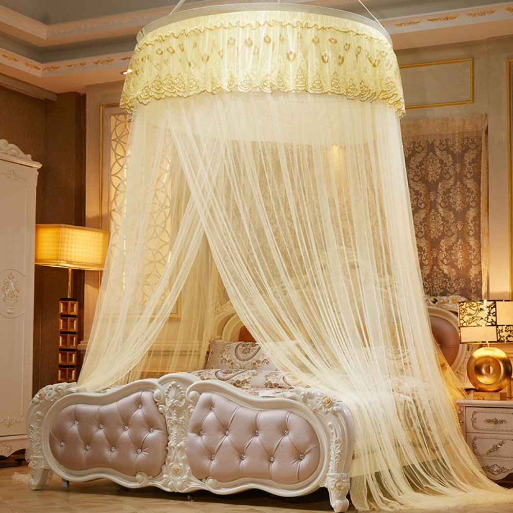 Lustar Mosquito Net Bed Canopy Children Fly Insect Protection Indoor Decorative Height 280cm Top Diameter 1.2m,Yellow