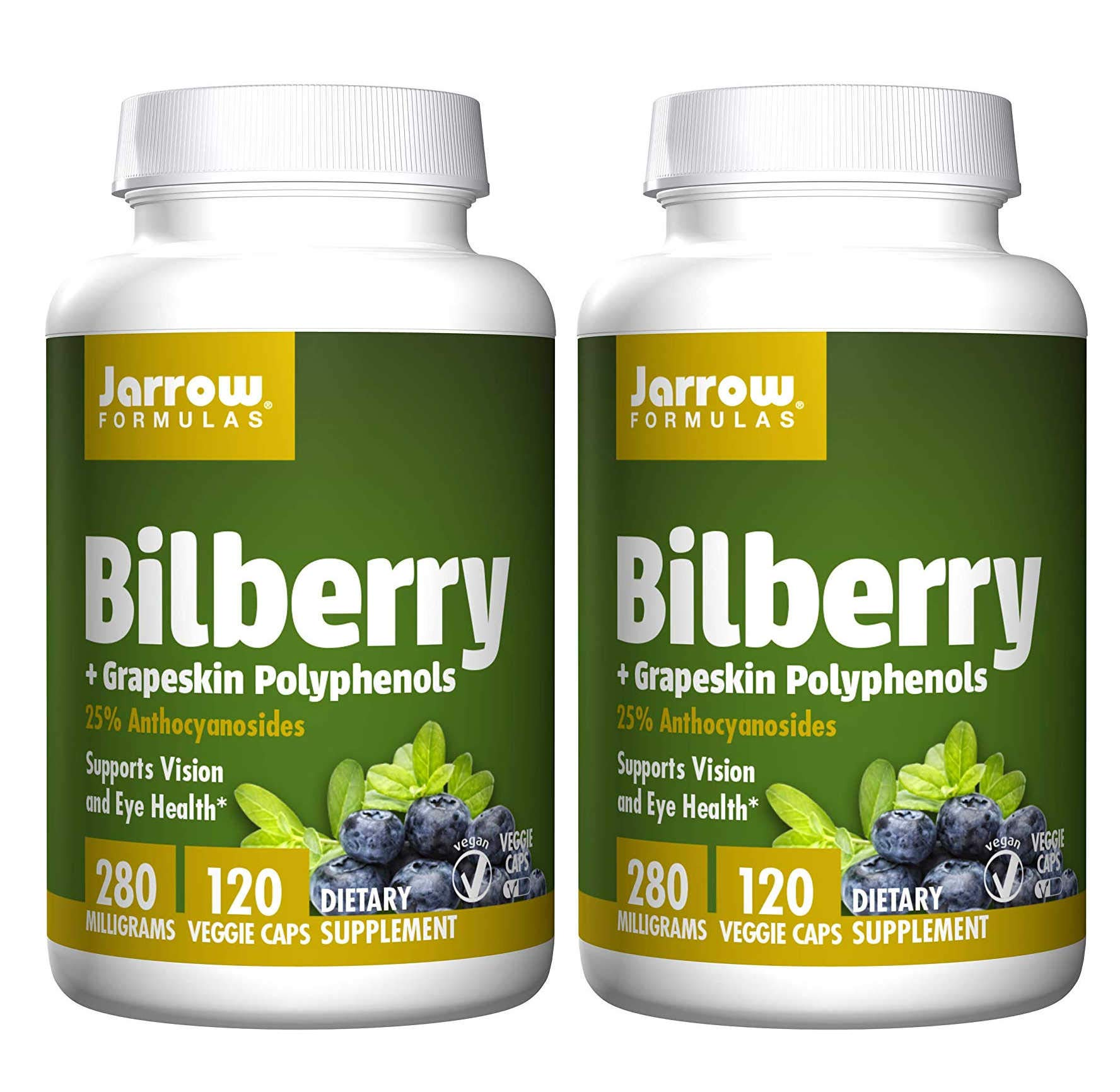 Jarrow Formulas Bilberry + Grapeskin Polyphenols 25% Anthocyanosides Supports Vision and Eye Health 280 Milligrams (120 Veggie Caps) Pack of 2