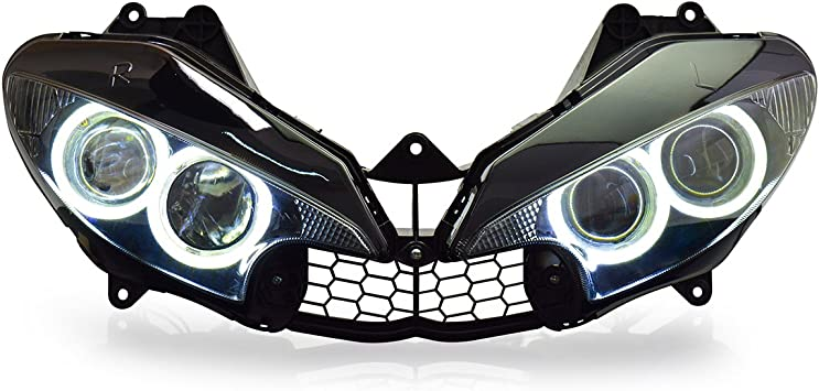 Amazon Com Kt Headlight Assembly For Yamaha R6 2003 2004 2005 White Angel Eye Automotive