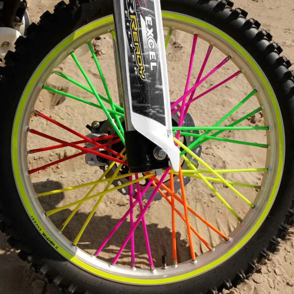 Homyl 72pcs Wheel Spoke Wraps Skins Trim Cover Pipe Pit Dirt Bike Yellow+Blue Kit