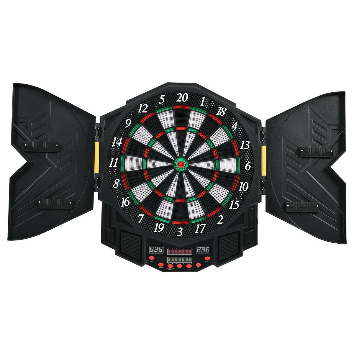 GHP LCD Score Display Electronic Plastic Dartboard Cabinet with 12 Soft Tip Darts