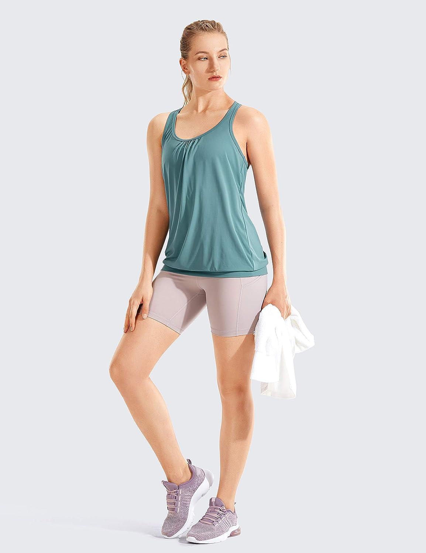 SYROKAN Women's Active Racerback Athletic Sports T-Shirt Long Yoga Crop Tank Top Slate Blue