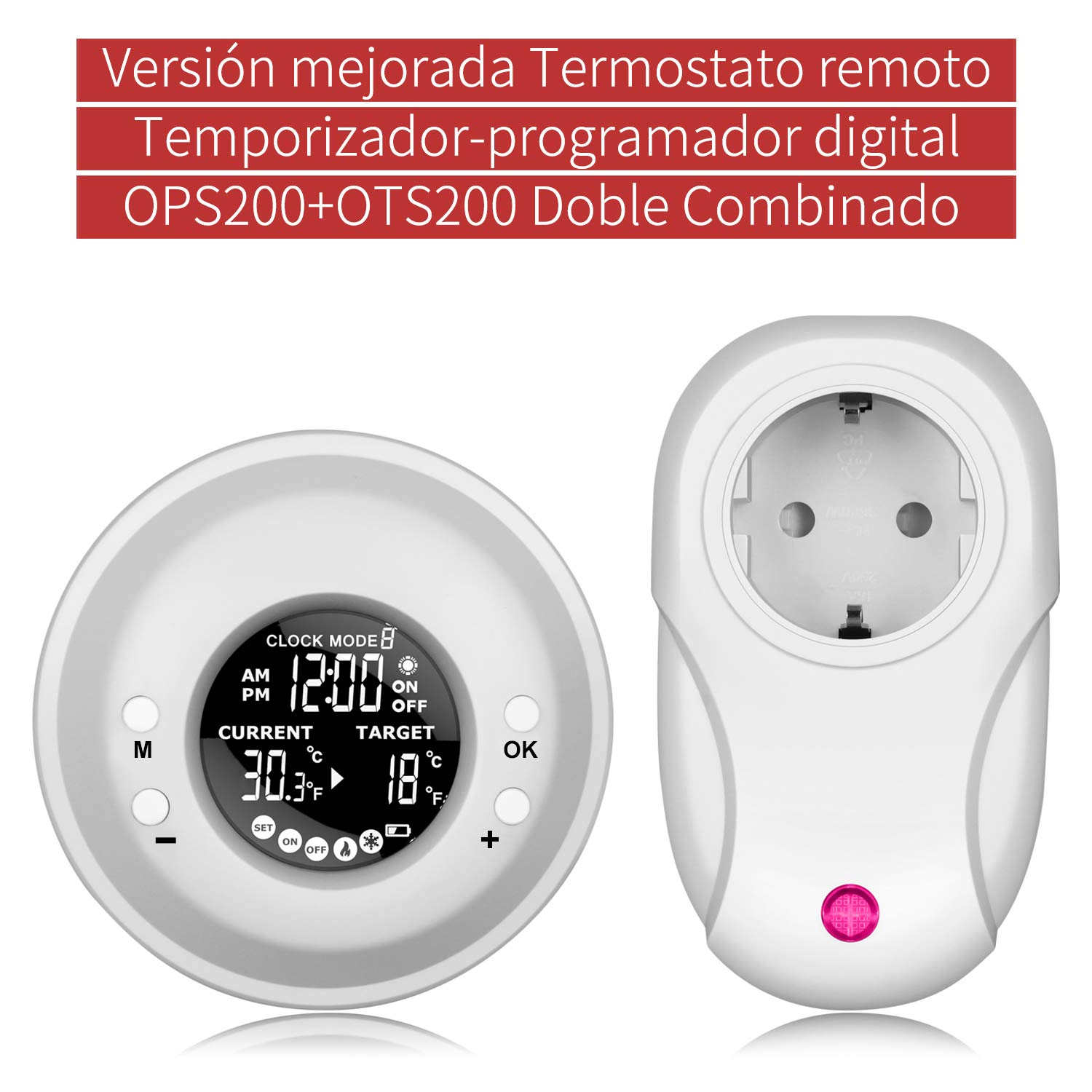 Temporizador Digital Programable, UPPEL Termostato Programable Inalámbrico Temporizador digital de temperatura adaptador Enchufe EU Programador ...