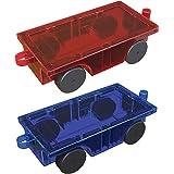 PicassoTiles 2 Piece Car Truck Construction Kit Toy Set Vehicle Educational Magnet Building Tile Magnetic Blocks Puzzle Magne