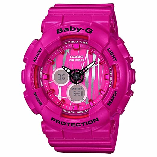 Casio Baby-G ba120sp-4 a Scratch Patrón Blanco analógico digital reloj para mujer: Amazon.es: Relojes