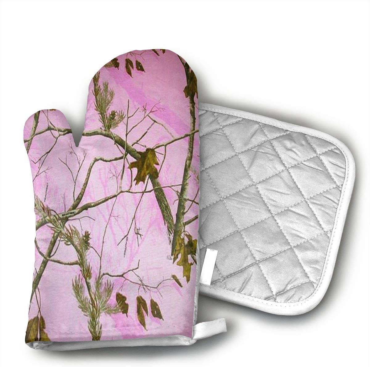 Pink Realtree Camo Oven Mitts, Heat Resistant Cooking Glove Quilted Cotton Lining- Heat Resistant Pot Holder Gloves for Grilling & Baking Gloves BBQ Oven Gloves Kitchen Tools Gift