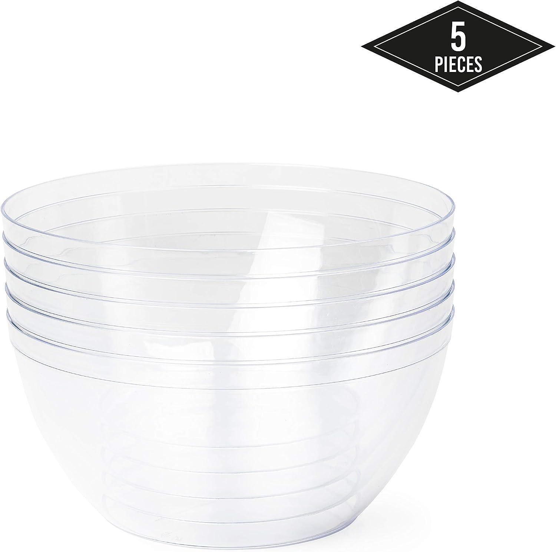 5 Piezas -3500ML- Ensaladeras de Plástico Desechables Grandes, Cuencos Bol de Plástico Transparentes - Elegante, Ligero, Resistente y Reutilizable| Fiestas Cumpleaños Catering Navidad Año Nuevo