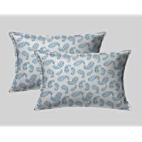 Linenwalas Pillow Covers Set of 2 Cotton | 300 TC Cotton Easy Wash Soft Sateen Weave Borderless 18x28 inch - Blue Paisley