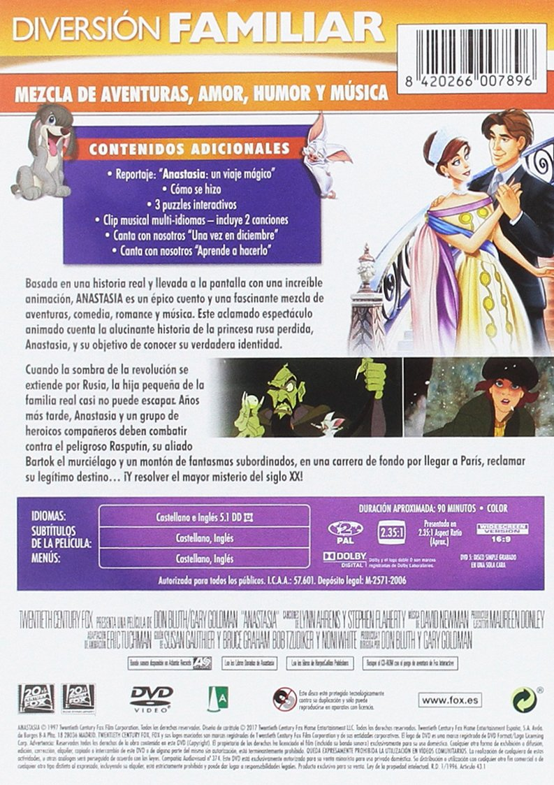 Anastasia (Blanca) [DVD]: Amazon.es: Animación, Don Bluth, Gary Goldman, Animación: Cine y Series TV