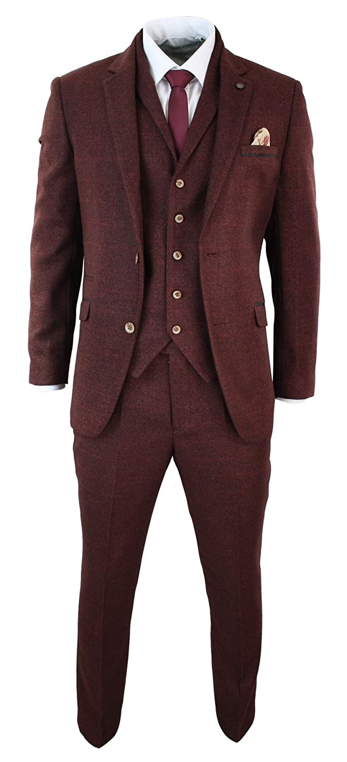 Cavani Mens Wine Maroon Check Herringbone Tweed Vintage Tailored Fit 3 Piece Suit Smart