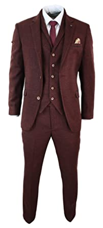 Costume 3 pièces homme tweed à chevrons grenat bordeaux coupe ...