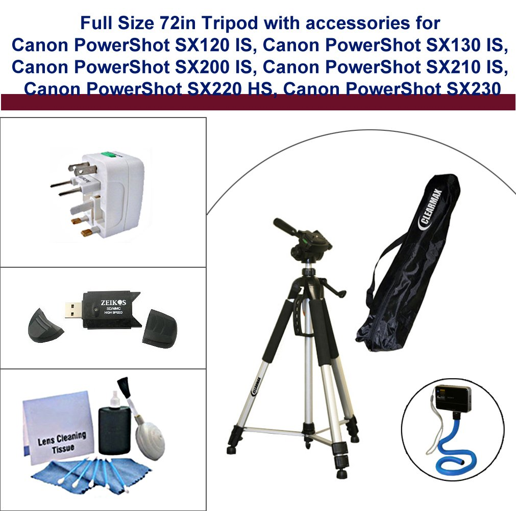 Full Size 72in Tripod with Accessories for Canon PowerShot SX120 IS, Canon PowerShot SX130 IS, Canon PowerShot SX200 IS, Canon PowerShot SX210 IS, Canon PowerShot SX220 HS, Canon PowerShot SX230 HS includes: Flexible Monopod, Universal Adapter, Deluxe 5PC