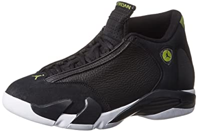 Nike Mens AIR JORDAN 14 RETRO, BLACK/BLACK-WHITE-VIVID GREEN,