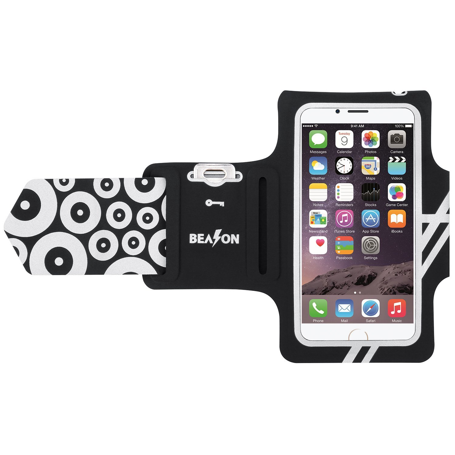 BEASON Running Armband, Waterproof Sports Workout Armband with Key Pocket for iPhone 7/6/6s, Black