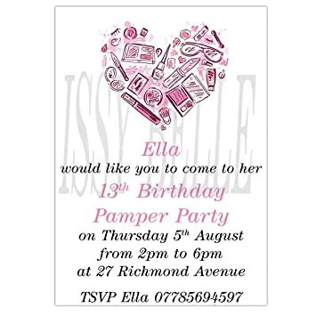 personalised invite childrens birthday party invitations girl pamper party - Pamper Party Invitations