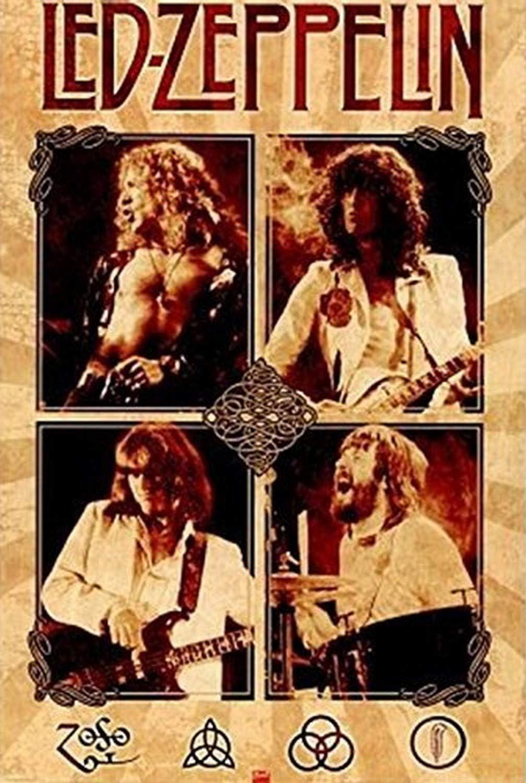 Buyartforless Led Zeppelin Group 36x24 Music Art Print Poster Wall Decor Jimmy Page John Bonham John Paul Jones Robert Plant