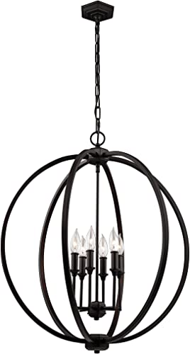 Feiss F3061 6ORB Six Light Pendant, 28 Height, Oil-Rubbed Bronze