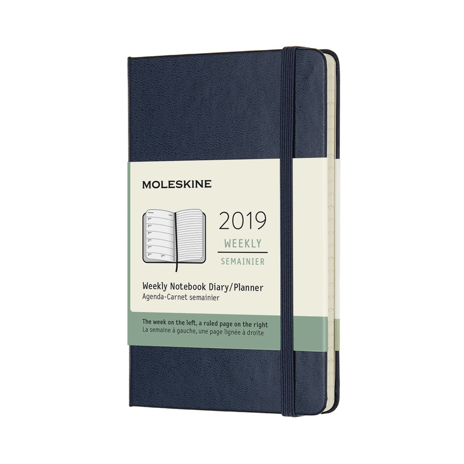 Moleskine 2019 12M Weekly Notebook, Pocket, Weekly Notebook, Blue Sapphire, Hard Cover (3.5 x 5.5)