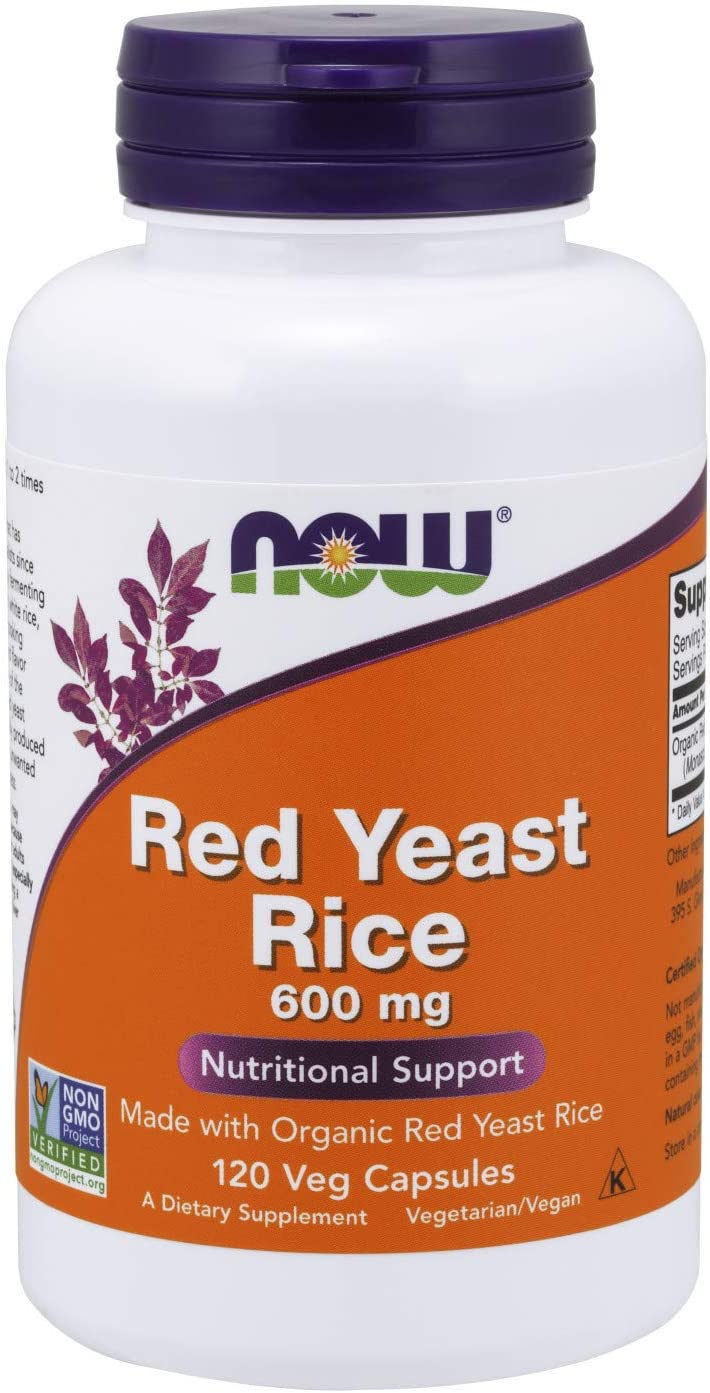 NOW Supplements, Red Yeast Rice 600 mg, Made with Organic Red Yeast Rice, 120 Veg Capsules