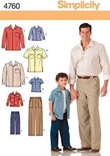 product image for Simplicity 4760 Shirt and Pants Sewing Pattern for Men and Boys A (S-M-L/S-M-L-XL)