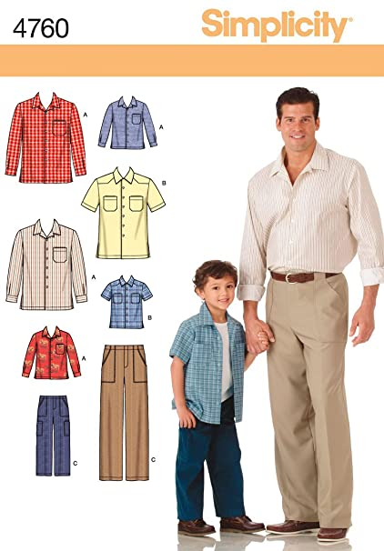 Amazon Simplicity Sewing Pattern 4760 Boys And Men Shirts And