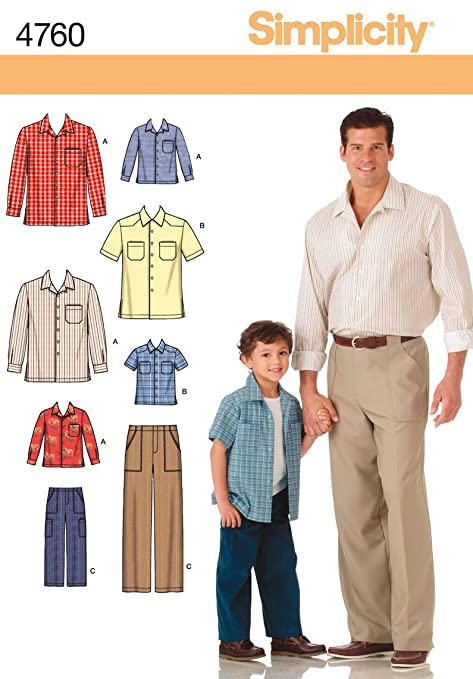 Simplicity Sewing Pattern 4760 A Boys And Men Shirts And Pants